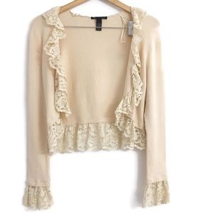 INC ruffled lace trim crop cardigan F0197